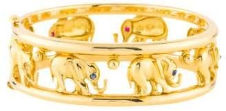 18K Ruby & Sapphire Elephant Bangle