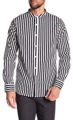 Kenneth Cole New York Striped Mandarin Collar Regular Fit Shirt