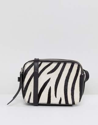 Asos Design Leather Zebra Camera Cross Body Bag