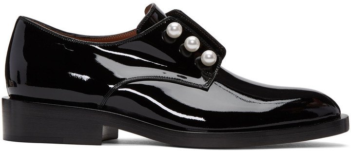 Givenchy Black Patent Leather Pearl Derbys