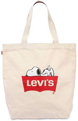 Snoopy & Logo Printed Canvas Tote Bag