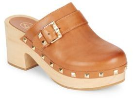 Ash Jezebel Studded Leather & Wood Clog Mules
