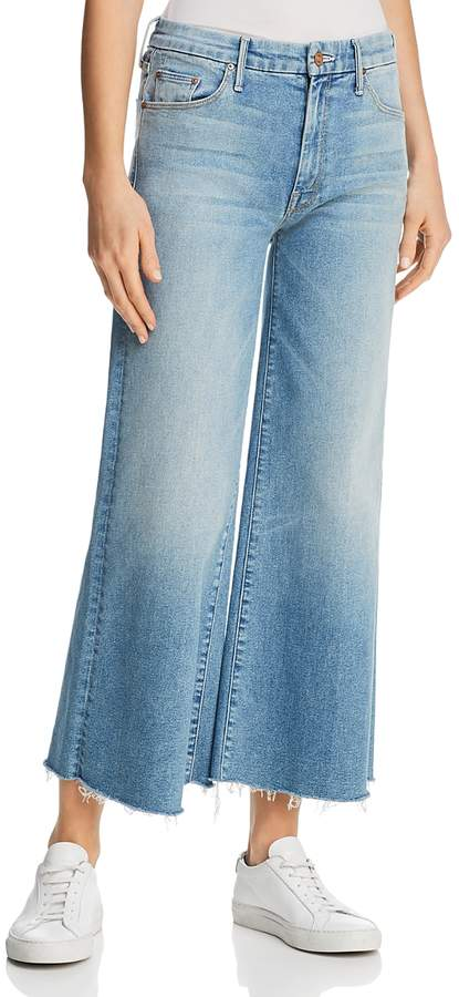 Roller Crop Fray Wide-Leg Jeans in Ready to Roll