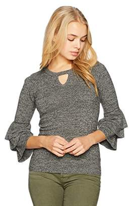 Amy Byer A. Byer Junior's 3/4 Sleeve Keyhole Neck Sweater (Junior's)