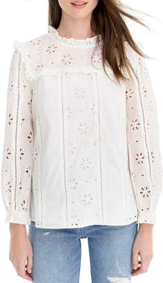 J.Crew J,Crew Ruffle Neck Long Sleeve Eyelet Top