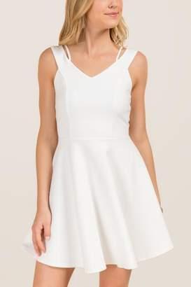 francesca's Masie Solid Ponte A-Line Dress - White