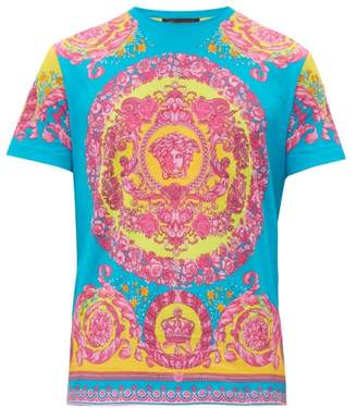 Versace Medusa And Crown Print Cotton T Shirt - Mens - Multi
