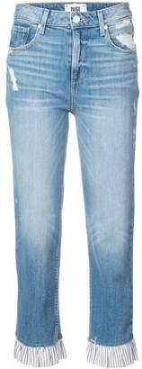 Paige ruffle trim straight leg jeans