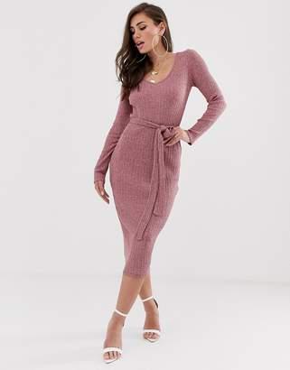 Asos Design DESIGN midi marl rib belted dress