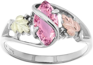 Black Hills Pink Cubic Zirconia Leaf Ring, Sterling/ 12K Gold