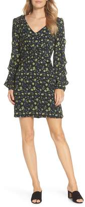 Foreside Forest Lily Floral Ruffle Sleeve Dress