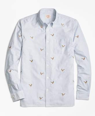 Brooks Brothers Pheasant-Embroidered Striped Oxford Sport Shirt