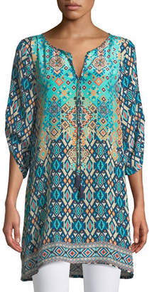Tolani Josephine Southwestern Silk Tunic, Plus Size