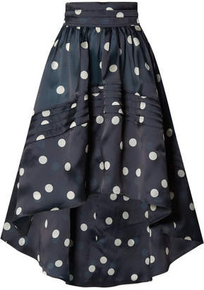 Ganni Asymmetric Polka-dot Silk-organza Skirt - Navy