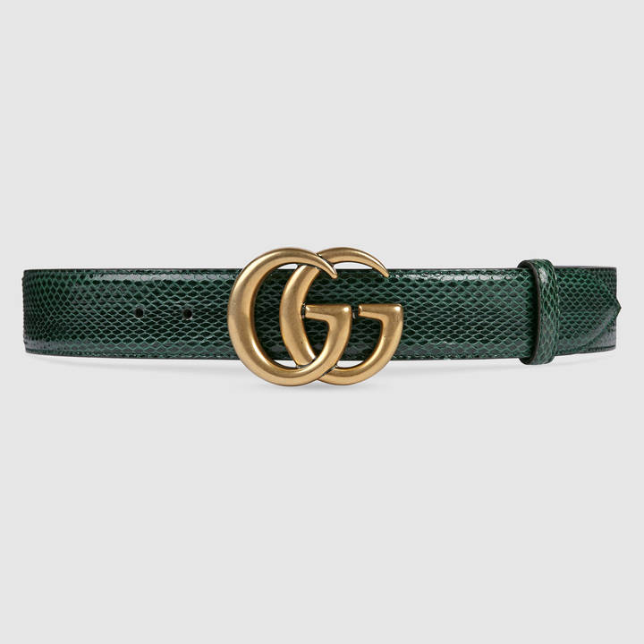 Leather belt with double G buckle 2