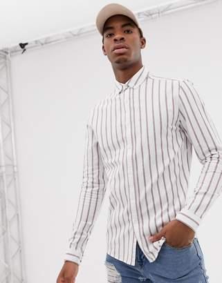 Asos Design DESIGN skinny fit stripe shirt in white & red