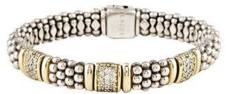 Lagos Two-Tone Diamonds & Caviar Beaded Bracelet