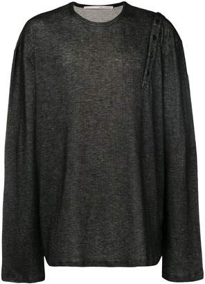 Isabel Benenato loose buttoned shoulder sweater