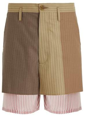Marni - Pinstriped Layered Wool Shorts - Mens - Brown Multi