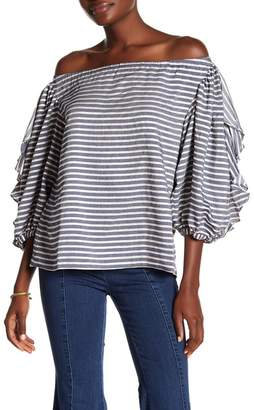Rachel Roy Ruffle Sleeve Stripe Blouse