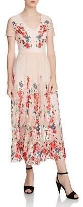 Maje Raphael Embroidered Tulle Midi Dress