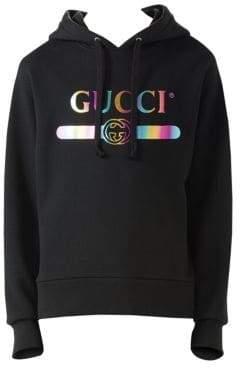 Gucci Men's Cotton Sweatshirt with Logo - Black Multi - Size XL