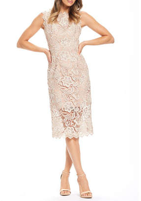 Dress the Population Claudette Sleeveless Floral Lace Cocktail Dress