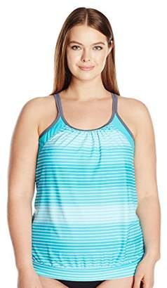 Free Country Women's Plus Size Surf Stripe Blouson Tankini Top