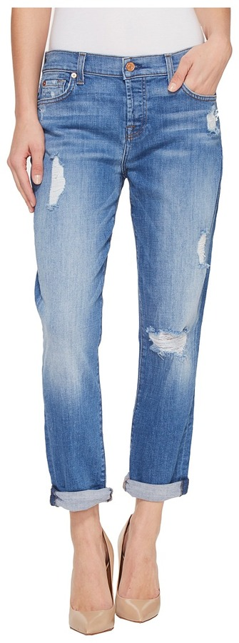 7 For All Mankind7 For All Mankind - Josefina w/ Destroy in Adelaide Bright Blue Women's Jeans