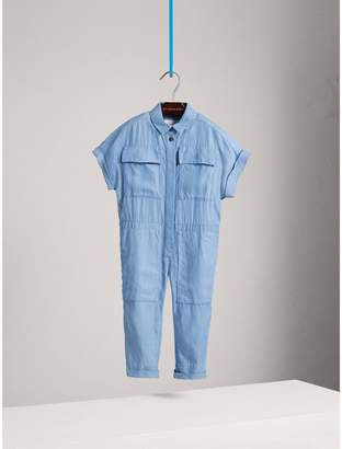 Burberry Short-sleeve Chambray Jumpsuit