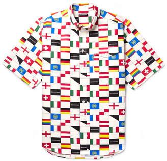 Balenciaga Oversized Button-Down Collar Printed Cotton-Poplin Shirt