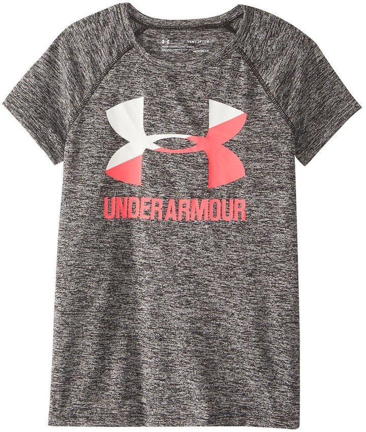 Under Armour Girls' UA Novelty Big Logo Short Sleeve T 8161594