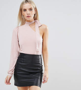 Asos Pussy Bow One Shoulder Balloon Sleeve