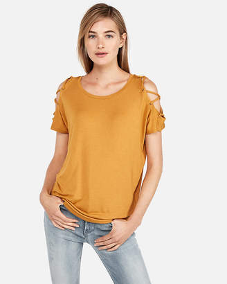 Express One Eleven Lace Shoulder London Tee