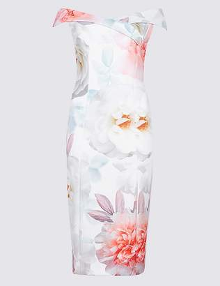 Marks and Spencer Floral Print Cap Sleeve Bodycon Midi Dress