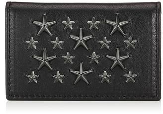 Jimmy Choo BELSIZE Black Biker Leather Cardholder with Gunmetal Stars