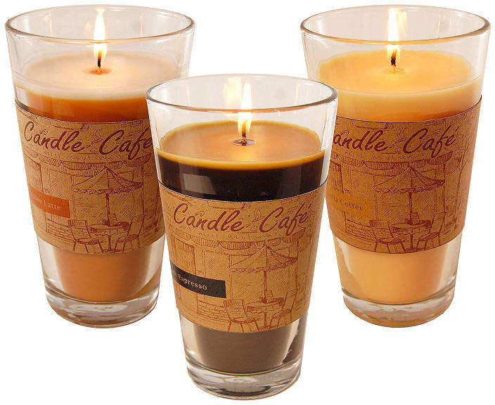 Scented Candles- Coffee Caf Collection in 11oz Glass Jars (Set of 3)