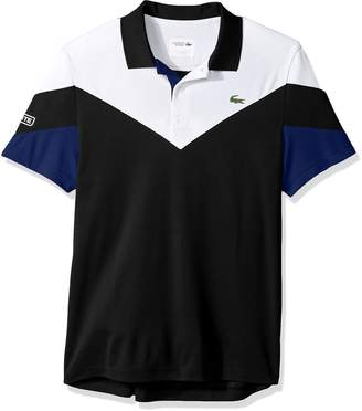 Lacoste Men's Tennis Short Sleeve Ultra Dry Chevron Colorblock Polo