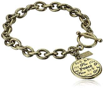 1928 Jewelry Brass Tone Peace Medallion Bracelet