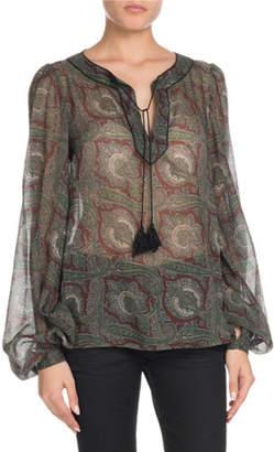 Saint Laurent Tassel-Tie Neck Paisley-Print Sheer Wool Blouse
