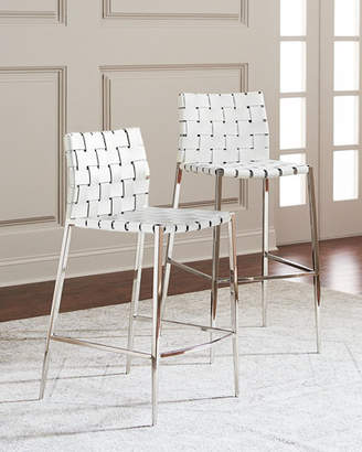 Interlude Home Kennedy Woven Leather Counter Stool, White