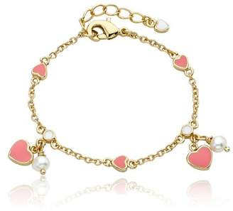 Little Miss Twin Stars 14k Gold-Plated Enamel Hearts and Fresh Water Pearls Charm Bracelet