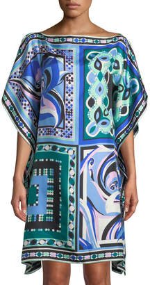 Emilio Pucci Postcards And Pop Printed Silk Twill Kaftan Coverup