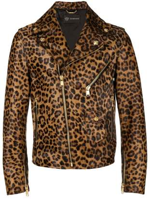 Versace leather leopard print biker jacket