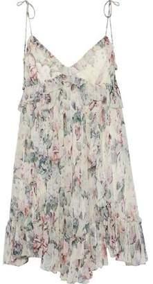 Zimmermann Jasper Ruffle-Trimmed Floral-Print Silk-Georgette Mini Dress