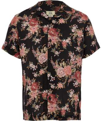 River Island Boys black floral short sleeve shirt