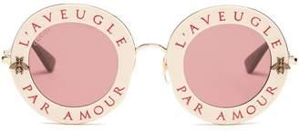 GUCCI L'Aveugle Par Amour metal sunglasses $550 thestylecure.com