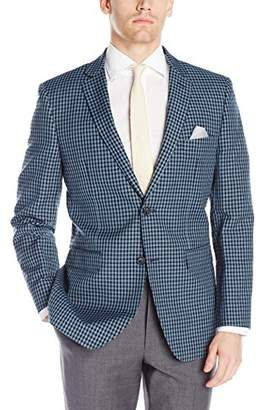 Perry Ellis Men's Two Button Slim Fit Gingham Blazer