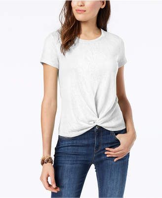 Style&Co. Style & Co Petite Knot-Front T-Shirt