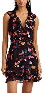 Saloni Women's Floral Silk Georgette Ruffled Minidress - Black